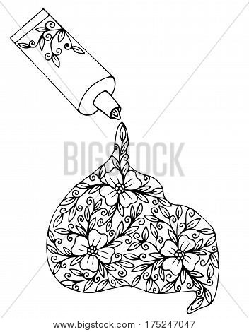 Vector paint tube with flower and leaves on the white background. Black line design for coloring book with open tube and flower.