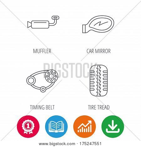 Tire tread, car mirror and timing belt icons. Muffler linear sign. Award medal, growth chart and opened book web icons. Download arrow. Vector