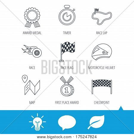 Race flag and speed icons. Winner medal, motorcycle helmet and timer linear signs. Map navigation flat line icons. Light bulb, speech bubble and leaf web icons. Vector