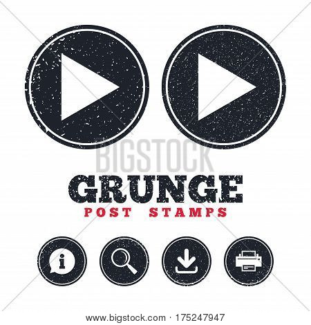 Grunge post stamps. Arrow sign icon. Next button. Navigation symbol. Information, download and printer signs. Aged texture web buttons. Vector