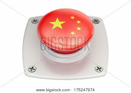 China flag push button 3D rendering on white