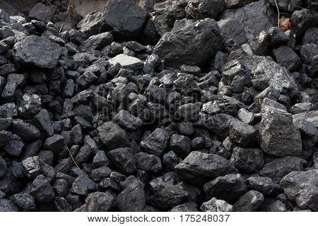 Coal on a slag heap, a pile of coal