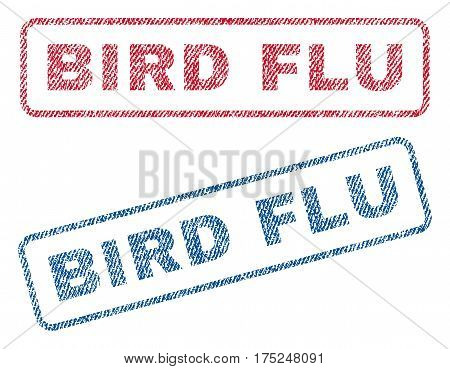 Bird Flu text textile seal stamp watermarks. Blue, red fabric vectorized texture. Vector caption inside rounded rectangular banner. Rubber emblem with fiber textile structure.