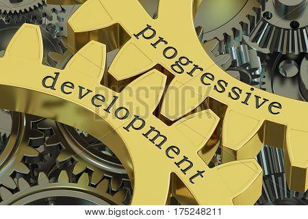progressive development concept on the gearwheels 3D rendering