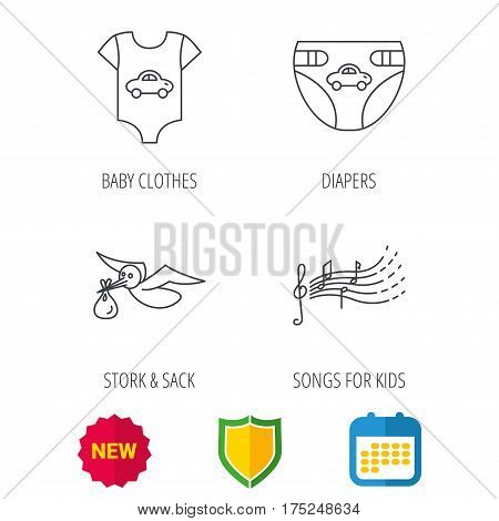 Diapers, newborn clothes and songs for kids icons. Stork with sack linear sign. Shield protection, calendar and new tag web icons. Vector