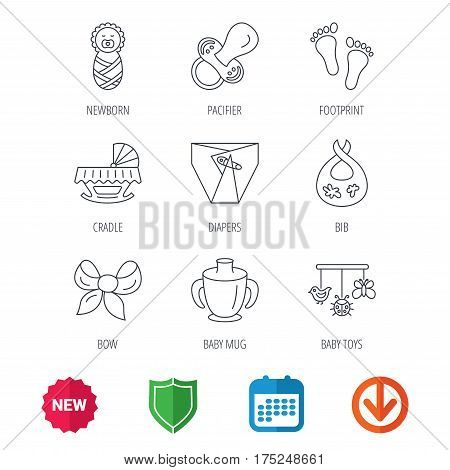 Pacifier, newborn and baby toys icons. Footprint, diapers and cradle bed linear signs. Mug, dirty bib flat line icons. New tag, shield and calendar web icons. Download arrow. Vector