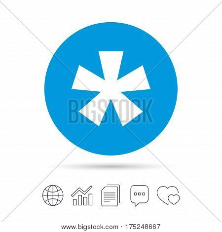 Asterisk footnote sign icon. Star note symbol for more information. Copy files, chat speech bubble and chart web icons. Vector
