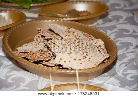 Passover background with plate and matzo. Jewish traditions