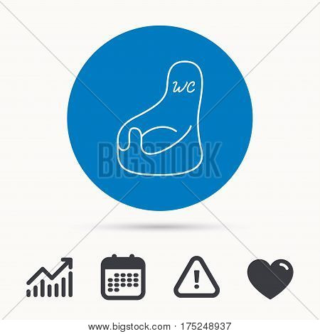 Baby wc icon. Child toilet sign. Washroom or lavatory symbol. Calendar, attention sign and growth chart. Button with web icon. Vector