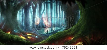 Magic Night Dream Fantasy Forest Illustration Glow Particles Huge Trees Giants rasterized