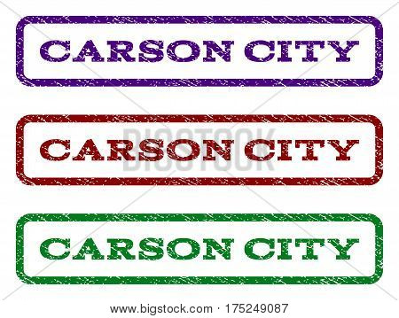 Carson City watermark stamp. Text tag inside rounded rectangle with grunge design style. Vector variants are indigo blue, red, green ink colors. Rubber seal stamp with dust texture.