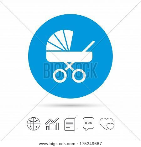 Baby pram stroller sign icon. Baby buggy. Baby carriage symbol. Copy files, chat speech bubble and chart web icons. Vector