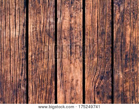 Obsolete wood texture with vertical lines. Warm brown wooden background for natural banner. Timber texture closeup. Vertical wooden planks of floor backdrop photo. Natural material for banner template