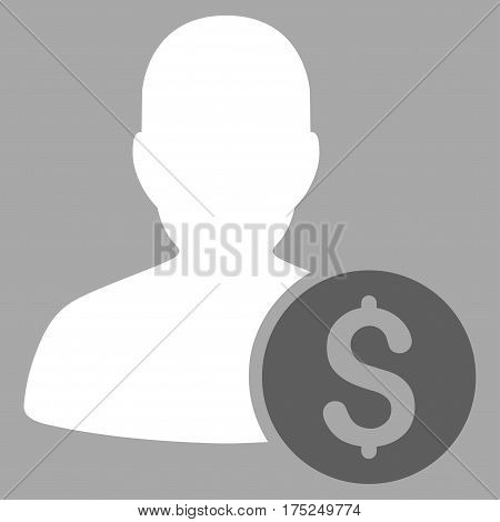 Investor vector pictograph. Illustration style is a flat iconic bicolor dark gray and white symbol on silver background.
