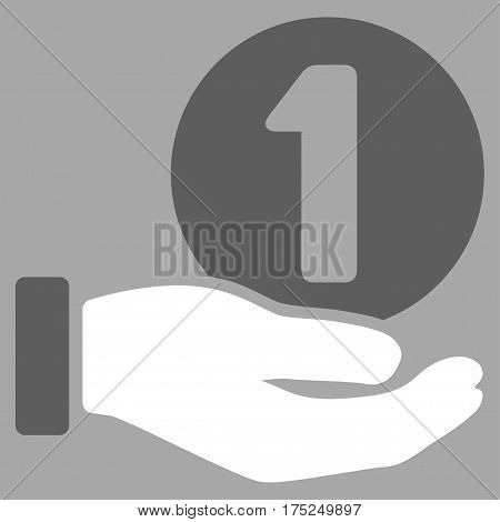 One Coin Payment Hand vector icon. Illustration style is a flat iconic bicolor dark gray and white symbol on silver background.