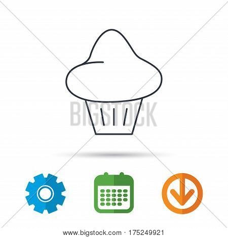 Brioche icon. Bread bun sign. Bakery symbol. Calendar, cogwheel and download arrow signs. Colored flat web icons. Vector