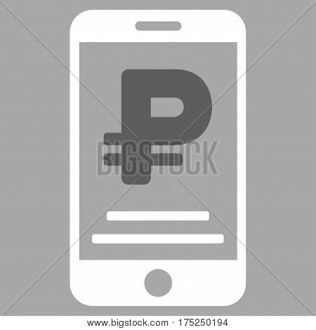 Rouble Mobile Payment vector pictograph. Illustration style is a flat iconic bicolor dark gray and white symbol on silver background.