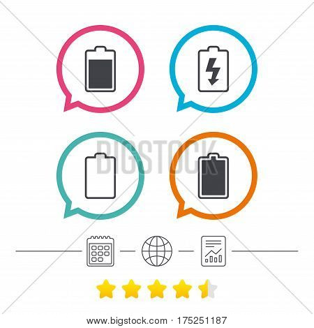 Battery charging icons. Electricity signs symbols. Charge levels: full, empty. Calendar, internet globe and report linear icons. Star vote ranking. Vector