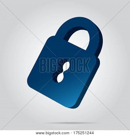 three dimensional illustration - blue closed padlock icon with shadow in front of a gray background