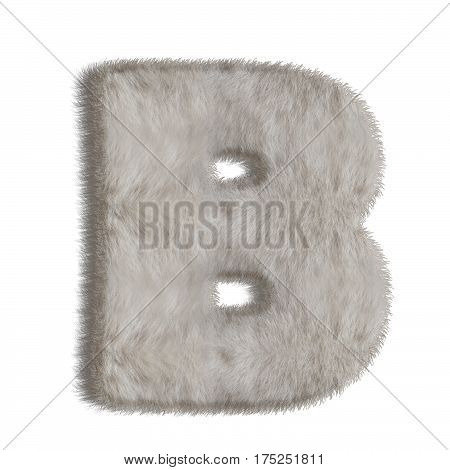 3d decorative animal fur letter B isolated on white background