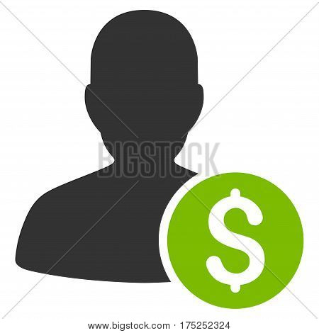 Investor vector pictograph. Illustration style is a flat iconic bicolor eco green and gray symbol on white background.