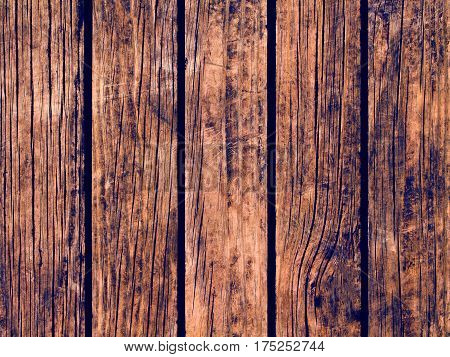 Dark wood texture with vertical lines. Warm brown wooden background for natural banner. Timber texture closeup. Vertical wooden planks of floor backdrop photo. Natural material for banner template