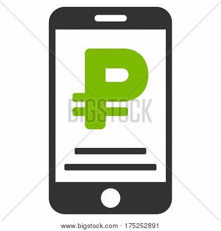 Rouble Mobile Payment vector icon. Illustration style is a flat iconic bicolor eco green and gray symbol on white background.