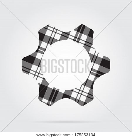 grayscale gray black isolated tartan icon with white stripes - cogwheel and shadow in front of a gray background