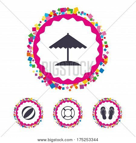 Web buttons with confetti pieces. Beach holidays icons. Ball, umbrella and flip-flops sandals signs. Lifebuoy symbol. Bright stylish design. Vector