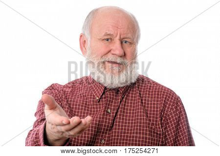 Handsome dissatisfied bald and bearded senior man, isolated on white background