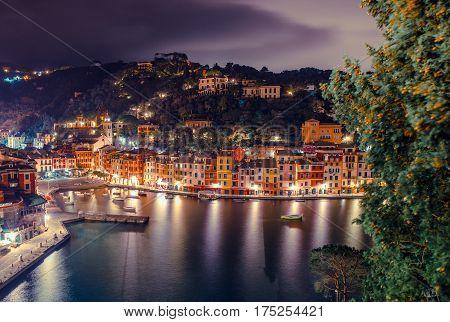 Portofino Italian Riviera at Night. Portofino Fishing Village in Italy.