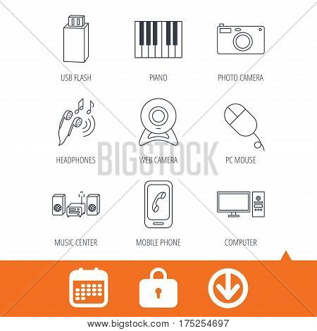 Smartphone, web camera and USB flash icons. Headphones, piano and photo camera linear signs. Computer, music center icons. Download arrow, locker and calendar web icons. Vector