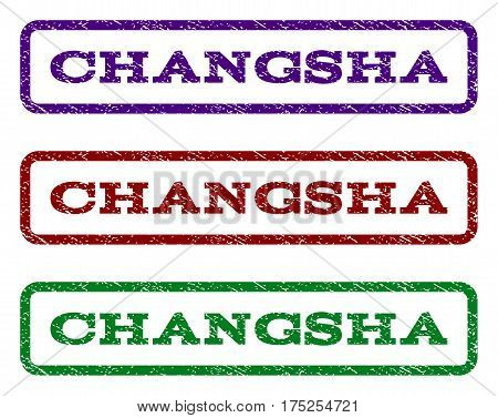 Changsha watermark stamp. Text tag inside rounded rectangle frame with grunge design style. Vector variants are indigo blue, red, green ink colors. Rubber seal stamp with unclean texture.