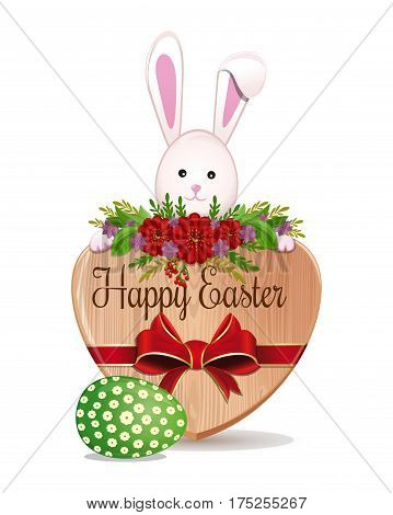 Easter bunny and Easter egg - symbols of Easter. Cute bunny peeks out from behind the boards with the inscription - Happy Easter. Design element for greeting card. Vector illustration