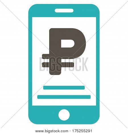 Rouble Mobile Payment vector pictograph. Illustration style is a flat iconic bicolor grey and cyan symbol on white background.