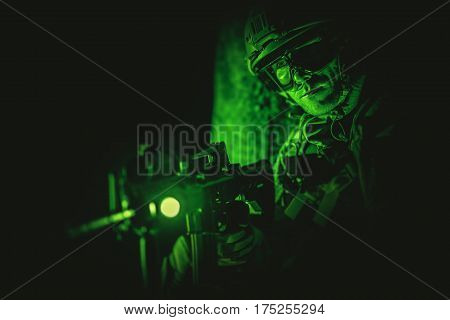 Soldier Night Vision Spotting. Military Concept. Operation at Night.