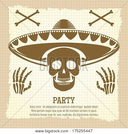 Vintage party poster design with skull bones cross and bones hands. Vector illustration