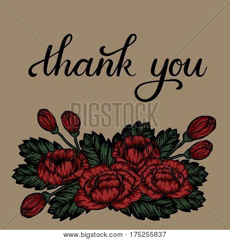 Thank You hand lettering inscription. Thank You Modern Calligraphy. Thank You Floral Greeting Card. Vector Illustration.