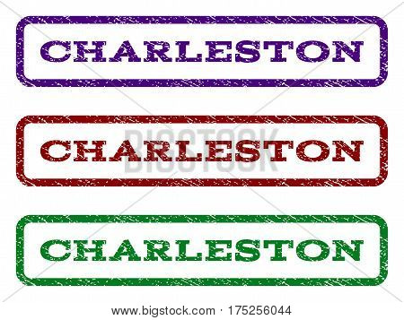 Charleston watermark stamp. Text tag inside rounded rectangle with grunge design style. Vector variants are indigo blue, red, green ink colors. Rubber seal stamp with scratched texture.