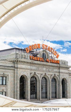 Denver Colorado USA-May 17 2015. Historial Union Station after redevelopment in Denver Colorado.