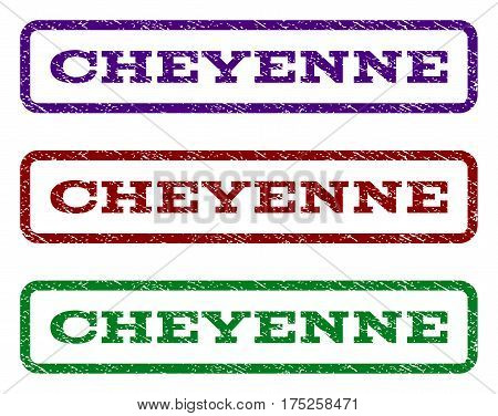 Cheyenne watermark stamp. Text tag inside rounded rectangle frame with grunge design style. Vector variants are indigo blue, red, green ink colors. Rubber seal stamp with unclean texture.