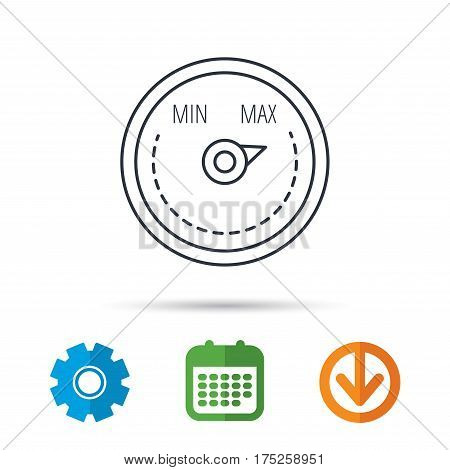 Heat regulator icon. Radiator thermometer sign. Calendar, cogwheel and download arrow signs. Colored flat web icons. Vector