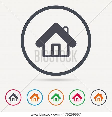 Home icon. House building symbol. Real estate construction. Round circle buttons. Colored flat web icons. Vector