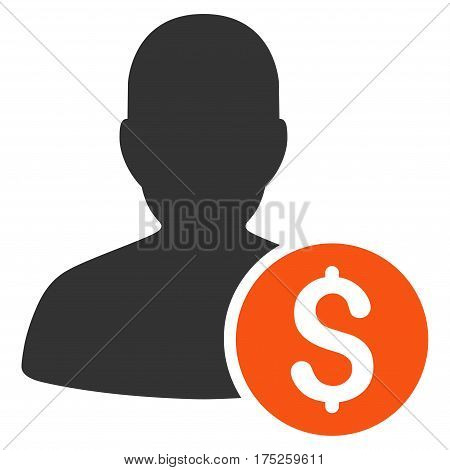Investor vector icon. Illustration style is a flat iconic bicolor orange and gray symbol on white background.