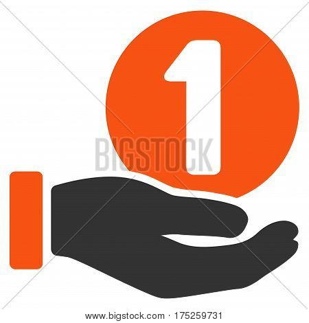 One Coin Payment Hand vector pictograph. Illustration style is a flat iconic bicolor orange and gray symbol on white background.