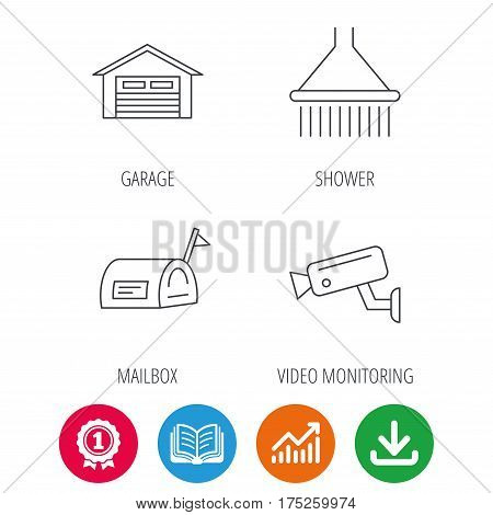 Mailbox, video monitoring and garage icons. Shower linear sign. Award medal, growth chart and opened book web icons. Download arrow. Vector