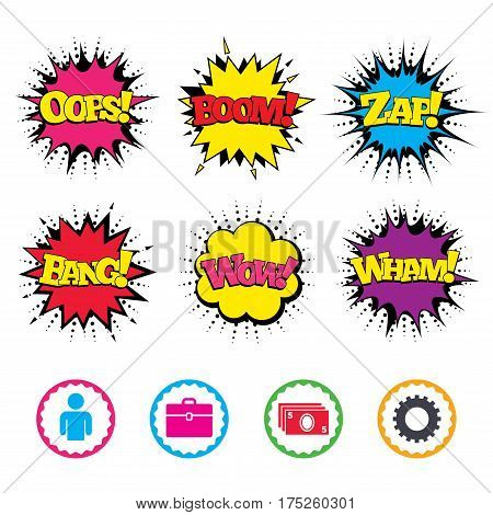 Comic Wow, Oops, Boom and Wham sound effects. Businessman icons. Human silhouette and cash money signs. Case and gear symbols. Zap speech bubbles in pop art. Vector