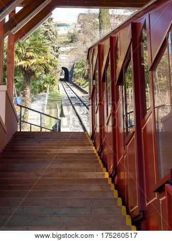 Lugano, Funicular For The Climb To Monte Bre.