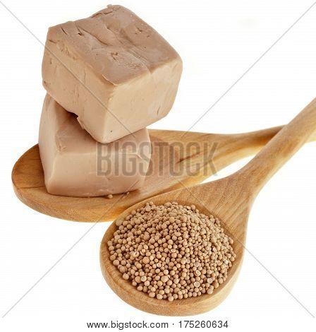Baking ingredient yeast powder in wooden spoon