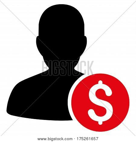Investor vector pictogram. Illustration style is a flat iconic bicolor intensive red and black symbol on white background.